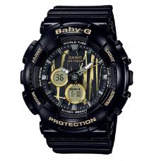 (NEW) (OFFICIAL MALAYSIA WARRANTY) Casio Baby-G BA-120SP-1A Standard Analog & Digital Women's Resin Watch (Black & Gold)