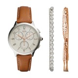Fossil Women CH4001SET Abilene Chronograph Light Brown Leather Watch & Jewelry Box Set (Light Brown)