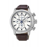 Seiko Gents Chronograph Brown Leather Watch SNAF51P1