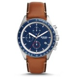 Fossil Men's CH3039 Sport 54 Chronograph Light Brown Leather Watch (Blue & Brown)