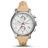 Fossil Women's ES4229 Original Boyfriend Sport Chronograph Vanilla Leather Watch (Vanilla)