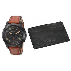 Fossil Men's FS5335SET Grant Chronograph Light Brown Leather Watch & Card Case Box Set (Black & Brown)