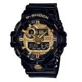 (OFFICIAL MALAYSIA WARRANTY) Casio G-SHOCK Garish Color Series with Metallic Face GA-710GB-1A Black & Gold Series Men's Resin Watch (Black & Gold)