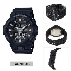 (OFFICIAL MALAYSIA WARRANTY) Casio G-SHOCK GA-700-1B Standard Analog & Digital Men's Resin Watch (Black)