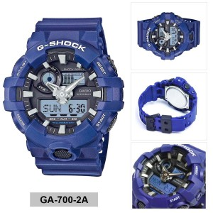 (OFFICIAL MALAYSIA WARRANTY) Casio G-SHOCK GA-700-2A Standard Analog & Digital Men's Resin Watch (Blue & Black)