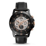 Fossil ME3138 Grant Sport Automatic Black Leather Watch (Black & Rose Gold)