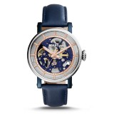 Fossil ME3136 Original Boyfriend Automatic Navy Leather Watch (Blue, Silver & Rose Gold)