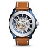Fossil Men's ME3135 Modern Machine Sport Automatic Dark Brown Leather Watch (Dark Brown, Blue & Silver)