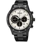 Seiko Solar Quartz SSC337P1 Gents LEE HOM Criteria Chronograph Sapphire Crystal Glass Watch (Black & White)