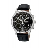 Seiko Gents Chronograph Black Leather Strap Watch SNDC33P1