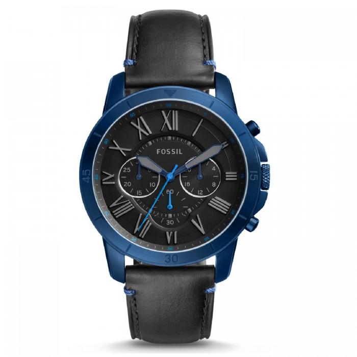 9db7e27aaf114 Fossil Men s FS5342 Grant Sport Chronograph Black Leather Watch (Black    Blue)