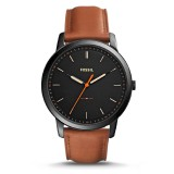 Fossil Men's FS5305 The Minimalist Slim Three-Hand Brown Leather Watch (Black & Brown)