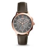 Fossil Women CH3099 Abilene Chronograph Gunmetal Dial Gray Leather Watch (Grey)