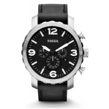 Fossil JR1436 Nate Chronograph Leather Watch (Black)