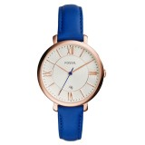 Fossil Women ES3795 Jacqueline Three-Hand Date Blue Leather Watch (Blue)