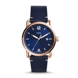 Fossil Men's FS5274 The Commuter Three-Hand Date Blue Leather Watch (Blue)