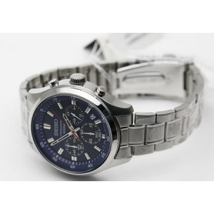 Seiko Men's Chronograph Stainless Steel Band Watch SKS585P1 (Silver & Blue)