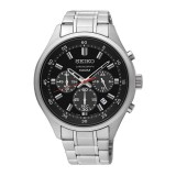 Seiko Men's Chronograph Stainless Steel Band Watch SKS587P1 (Silver & Black)