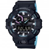 (OFFICIAL MALAYSIA WARRANTY) Casio G-SHOCK GA-700PC-1A SPECIAL COLOUR MODEL Analog-Digital Men's Resin Watch (Light Blue & Black)