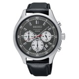 Seiko Men's Chronograph Black Leather Strap Watch SKS595P1 (Silver & Black)