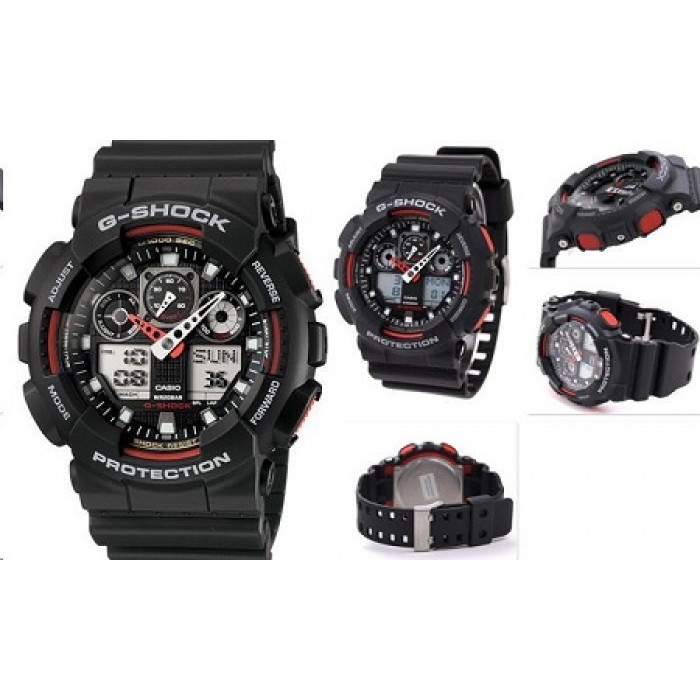 aa7a30effe77 (OFFICIAL MALAYSIA WARRANTY) Casio G-SHOCK GA-100-1A4 Analog-Digital Men s  Resin Watch (Black   Red)
