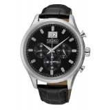 Seiko Chronograph Gents Leather Strap Watch (Black) SPC083P2