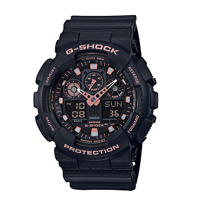 (OFFICIAL MALAYSIA WARRANTY)  Casio G-SHOCK GA-100GBX-1A4 SPECIAL COLOUR Men's Resin Watch (Black & Rose Gold)