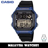 (100% Original) Casio Classic AE-1300WH-2A 10-Year Battery Life Interval Timer Digital Black & Blue Resin Watch AE1300WH AE1300WH-2A AE-1300WH-2AVDF