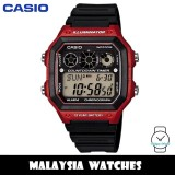(100% Original) Casio Classic AE-1300WH-4A 10-Year Battery Life Interval Timer Digital Black & Red Resin Watch AE1300WH AE1300WH-4A AE-1300WH-4AVDF
