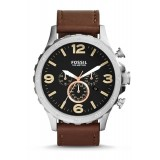 Fossil JR1475 Nate Chronograph Leather Watch (Brown)