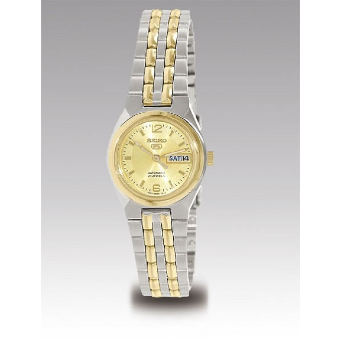 Seiko 5 Symk34k1 Automatic 21 Jewels Ladies Two Tone Stainless Steel Watch Silver Gold