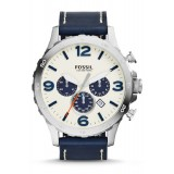 Fossil JR1480 Nate Chronograph Leather Watch (Blue)