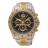 """Seiko """"LORD"""" Men's Chronograph Two-Tone Stainless Steel Band Watch SPC232P1 (Silver & Gold)"""