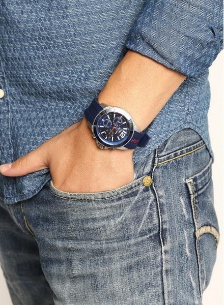 liebre esposa Componer  100% Original) Tommy Hilfiger Men's 1791142 Nolan Multifunction Blue Dial  Blue Silicone Watch