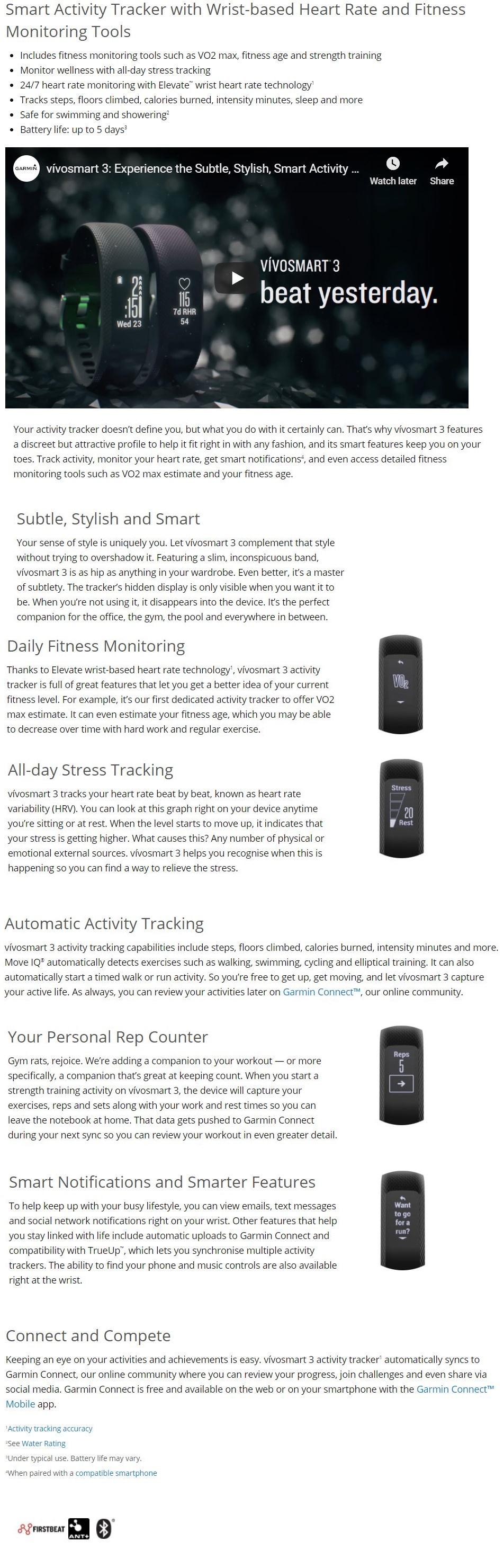 OFFICIAL WARRANTY) Garmin Vivosmart 3 Blue Activity Tracker with