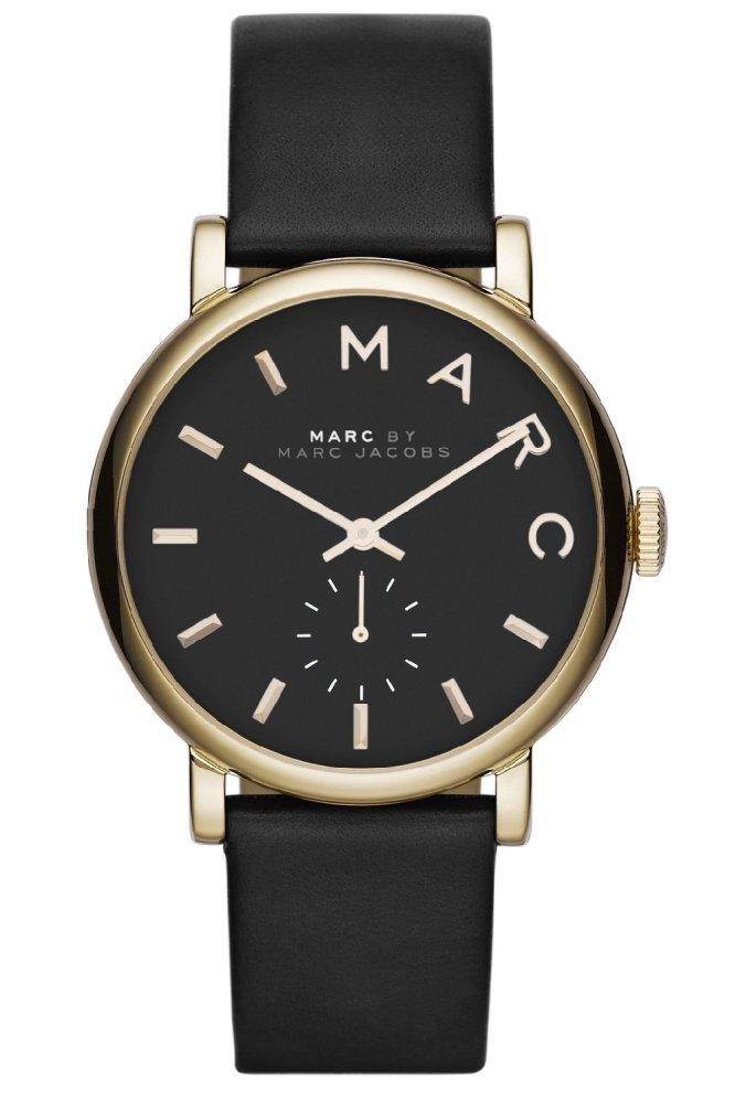 Marc By Marc Jacobs Mbm1269 Baker Black Dial Black Leather Strap Ladies Watch Black Gold